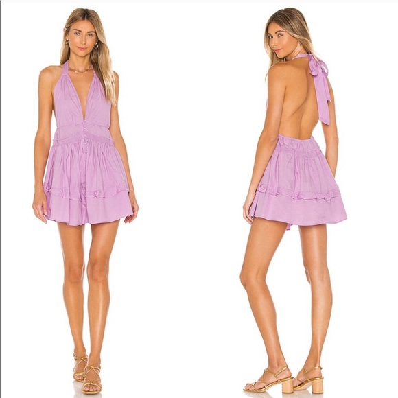 Free People Sail Away Halter Dress in Lilac